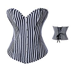 Black Stripes Satin Casual Lolita Bustier Corset – USD $ 39.99