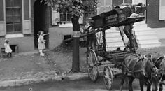 Street scene, coal delivery from wagon  Baltimore, Maryland ca. 1915 Unidentified photographer 4x5 inch glass negative Baltimore City Life Museum Collection Maryland Historical Society MC3834  Full image and detail. Click to enlarge.