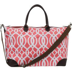 Vine Pattern Print Large Shopping Bag and Tote Bag-Coral