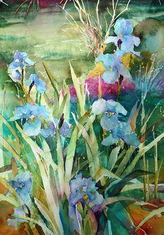 iris, watercolor by David R. Daniels