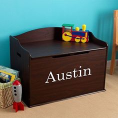Modern Touch Personalized Boys Toy Box - Espresso with Custom Font Choices Keep books and toys off the floor with a Modern Touch Personalized Toy Box - Espresso Personalised Toy Box, Personalized Baby Gifts, Boys Toy Box, Toy Storage Bench, Kids Storage, Storage Boxes, Storage Ideas, Ideas Hogar, Toy Rooms