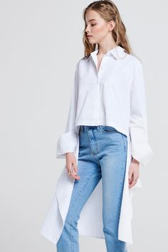 Melissa Unbalanced Long Shirt Discover the latest fashion trends online at storets.com #fashion #unbalanced #longshirt #shirts #storetsonme