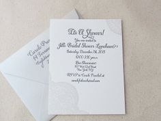 white lace bridal shower invitation