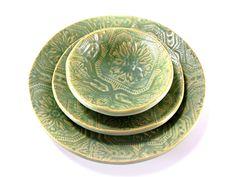 Antique Green Dinnerware   handmade+ceramic+dinnerware+set+vintage+cottage+collection+antique ...