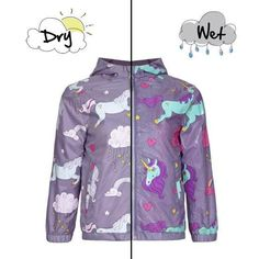 Holly&Beau Grey Unicorn Color Changing Raincoat