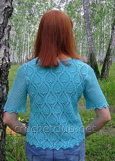 blusa azul com padrões de abacaxi 1