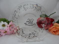 Vintage Glass 25th Silver Wedding Anniversary by SecondWindShop, $10.00