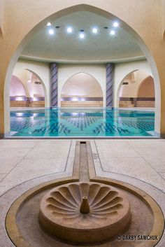 One of the bath houses in the basement of theHassan II Mosque in Casablanca..Morocco