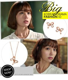[Korean Drama Fashion] Big, Lee Minjung (이민정) - Rose Gold Jewelry Necklace and Earrings Set