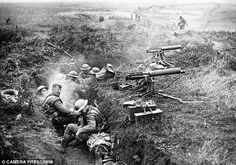 The Battle of Cambrai - men of the 11th Leicester Regiment, 6th Division with machine guns captured in the German 2nd Line trench at Ribecou...