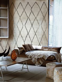 """Signoria"" Moroccan diamond wallpaper; Life11; two colorways; Wall&Decò"