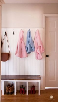 Such a great idea for a small entryway mudroom! This DIY mudroom bench and beadb. Such a great idea for a small entryway mudroom! This DIY mudroom bench and beadboard with coat hook Small Entrance, House Entrance, Entrance Ideas, Farm Entrance, Entrance Halls, Entrance Design, Entryway Hooks, Entryway Decor, Home Depot