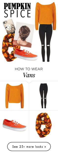"""#pumpkinspice"" by justsomerandomgirl74 on Polyvore featuring Topshop, Boohoo, Casetify and Vans"