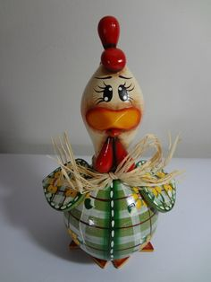 Painted Gourds, Galo, Roosters, Sim, Biscuit, Christmas Ornaments, Holiday Decor, Home Decor, Creative Crafts