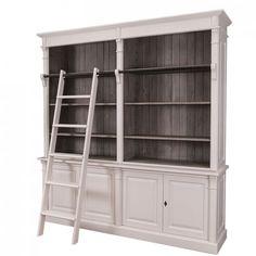Bücherregal Mit Leiter, Farbe Rot, Wohnzimmer, Landhausstil ... Wohnzimmer Farbe Rot