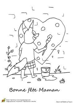 Ce renard est entrain de peindre un grand cœur pour sa maman, à colorier