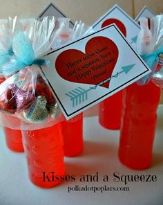 Here's a fun idea for all the special people in your life on Valentine's Day. These are very inexpensive and I've included a free printable, too. I found the Kool-Aid squeeze drinks in the juice se... #Valentines Day