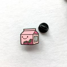 Strawberry Milk Enamel Pin by Studio Vcky