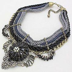 Designer Eden Bouquet Crystal Leather Multicolor Black Gray Gold Bib Necklace #Unbranded #BibCollarChainPendantNecklace
