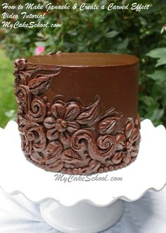 How to Make Ganache & decorate with a beautiful carved effect. MyCakeSchool.com video tutorial.