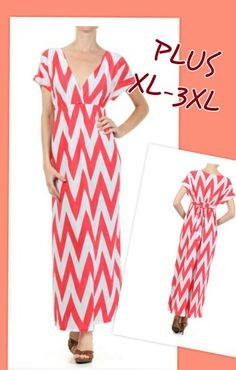 Coral chevron maxi plus dress -Get it at www.facebook.com/anjboutique LIKE & SHARE our page to keep up with our sales events and promotions!