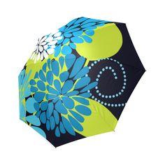 Blue Aqua Abstract Modern Floral Foldable Umbrella.