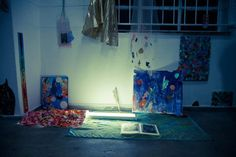 """detail of Julia Rosa Clark Froufrou II installation, paper, card, fabric, towel, fluorescent light, found objects """"Mistakes"""" One-night exhibition 11/08/12, 50 Canterbury Street, Cape Town photo:..."""