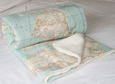World Map Baby Blanket map blanket minky baby by WIKIPILLOW