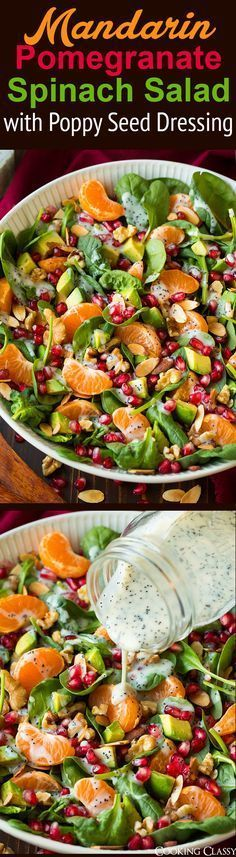 Pomegranate Spinach Salad with Poppy Seed Dressing - perfect Thanksgiving or Christmas salad! We loved it!Mandarin Pomegranate Spinach Salad with Poppy Seed Dressing - perfect Thanksgiving or Christmas salad! We loved it! Vegetarian Recipes, Cooking Recipes, Healthy Recipes, Cooking Ideas, Vegetable Recipes, Healthy Salads, Healthy Eating, Easy Salads, Healthy Food