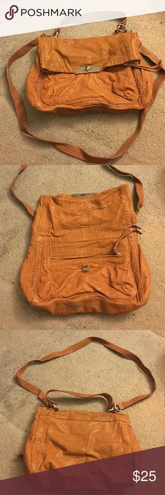 Zara Leather Crossbody Bag Zara leather purse | Used several times but still in usable condition | Some scuffs on bottom of purse as seen in 2nd picture | Color: Cognac/tan | Zara Bags Crossbody Bags