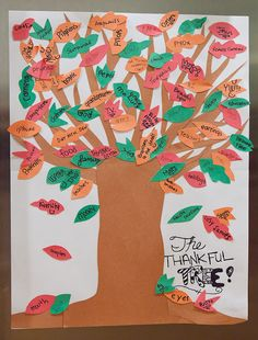 """Make a """"thankful"""" tree with the kids, totally forgot I did this last year!"""