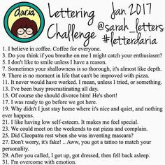 WEBSTA @ letteringchallenges - @sarah_letters #letterdaria...#januaryletteringchallenges #januaryletteringchallenge #letteringchallenges #letteringchallenge #lettering #typography #handlettering #moderncalligraphy #brushcalligraphy #brushlettering #brushpen #love #script #letters #handwriting #handmadefont #calligraphy #calligritype #ink #handwritten #calligrafriends #calligrabesties