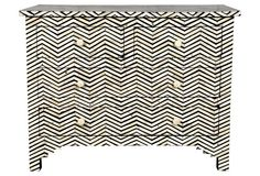 Herringbone Bone Inlay Chest, for the perfect black and white accent piece.
