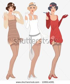 Flapper girls set: three young beautiful women of 1920s in different dresses - stock vector