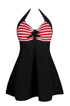 d02b79baf8 Women One Piece Swimdress with Steel Padded Swimsuit 2017 Sale Plus Size  Dot Strips Stars Bow Swimwear Bathing Suit Beach Wear