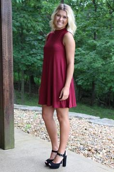 A Walk In The Park Dress - Burgundy >> www.anchorabella.com New Arrivals Daily! Fast, Free Shipping!