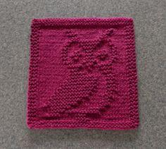 Knit Dishcloth OWL  Hand Knitted Unique Design by AuntSusansCloset, $6.00
