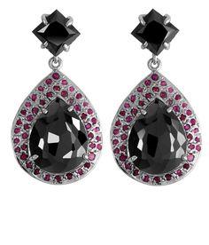 PEAR SHAPE BLACK DIAMOND SOLITAIRE DANGLER EARRINGS WITH RUBY ACCENTS Black Diamond Earrings, Drop Earrings, Pear Shaped, Shapes, Gemstones, Gems, Drop Earring, Jewels, Minerals