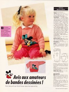Image - PULL AVEC MICKEY ET MINNIE......AU TRICOT. - Blog de le-tricot-de-marcelle - Skyrock.com Baby Knitting Patterns, Knitting Designs, Baby Patterns, Crochet Patterns, Pull Chat, Rubrics, Knitwear, Knit Crochet, Applique