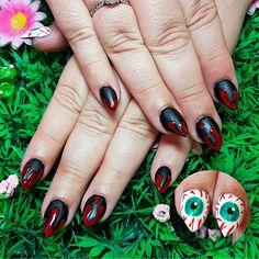 Drippy blood on matte black and eyeballs on the thumbs! www.kawaiiklaws.com Matte Black, Blood, Nail Art, Kawaii, Nails, Beauty, Finger Nails, Ongles, Nail Arts