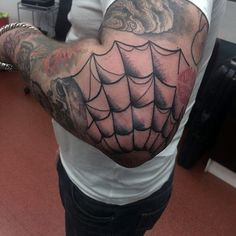 Black Ink With Shading Spider Web Elbow Tattoos For Guys