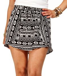#Windsor                  #Skirt                    #Ivory/Black #Drawstring #Tribal #Skirt             Ivory/Black Drawstring Tribal Skirt                                           http://www.seapai.com/product.aspx?PID=1759474