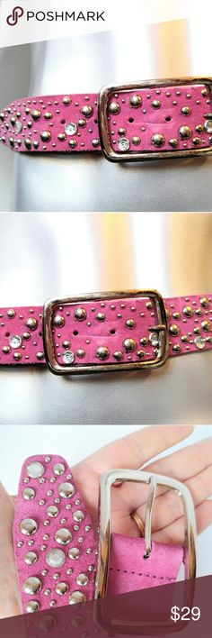 """HOLY MOLY BELT!! Pink Studded-Silver & Rhinestones Vintage wow!! This is one rockin belt!  Deep pink leather with silver and resin rhinestone studs.  Nicely made piece.  All the studs and stones look present.  Pics colors may be slightly off. Size Medium-measures about 37"""" x 1.5"""" not including the buckle.   Good vintage condition with minimal wear.  The back has discolored I think with age.  Nothing seen while worn.  It doesn't lay flat from being stored wound for decades.  Add as many items…"""