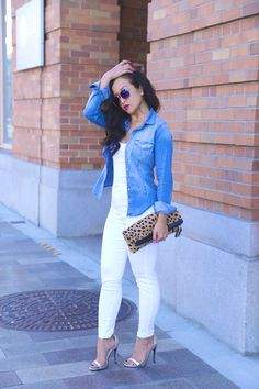 All white, a little denim & some leopard with the Love,Cortnie 'Spotted' clutch. (via KTRstyle)