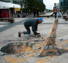 SORRY, (doesn't tell me which painting belongs to whom)--Julian Beever, Edgar Müller and Manfred Stader, men who are famous for their art on the pavement of England , France , Germany , USA , Australia, Argentina and Belgium they give to drawings an amazing 3D illusion.    Love 3D street art...you can have the 3D movies....(sick of 'em)---but 3D street art, PURE GENIUS