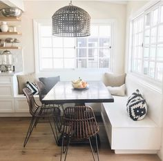 Modern Kitchen Dining Room Design and Decor Ideas – Wohnen – … Dining Room Design, Dining Room Table, Wood Table, Corner Dining Nook, Dining Rooms, Built In Dining Room Seating, Corner Bench, Dining Area, Dining Bench