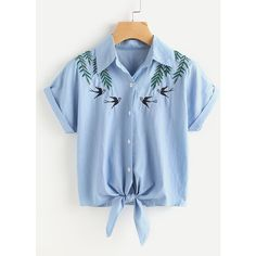 Tie Front Swallows Embroidered Denim Shirt (160 ARS) ❤ liked on Polyvore featuring tops, blue, button shirt, blue short sleeve shirt, blue button-down shirts, embroidered top and blue top