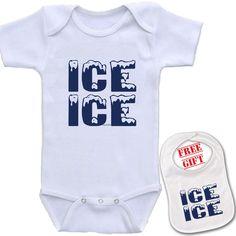 Ice Ice Baby BabyGrow Newborn Birthday Funny Unisex Cute Gift Playsuit Vanilla