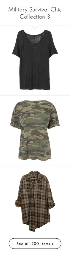"""""""Military Survival Chic Collection 3"""" by liddy-white ❤ liked on Polyvore featuring tops, t-shirts, shirts, tees, raglan shirts, beach shirts, short sleeve t shirts, t shirt, raglan short sleeve t shirts and bags"""