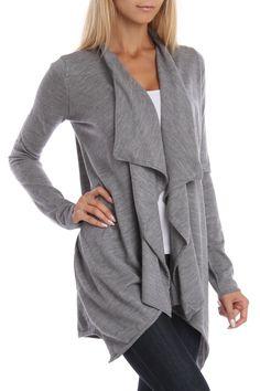 Gray Ruffle Cardigan Sweater